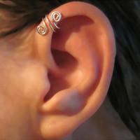 Sterling Silver No Piercing Handmade Helix Cuff Ear Cuff &quot;Spiral Up&quot; 1 Cuff