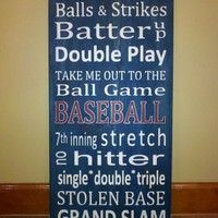 Baseball Word Art Typography Wood Sign | SignsofElegance - Housewares on ArtFire