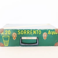 Vintage storing box glass holder wood wooden case Italian Aqua Sorrento