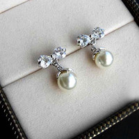 Sweet Crystal Ribbon Dangling Beads Studs Earrings. Cute Bow Silver Earrings