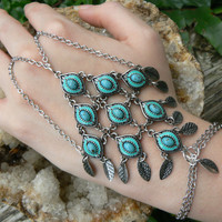 belly dancer slave bracelet moroccan enameled turquoise leaves in moroccan indie belly dancer boho hipster and gypsy style