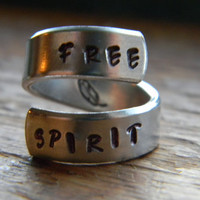 free spirit feather twist aluminum ring Version III