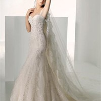 One-shouler Mermaid Strapless Chapel Train Statin Wedding Dress WD0117