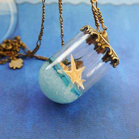 10% SALE Necklaces Summer in a Bottle Seastar Seashells Blue Beach Sea Sand