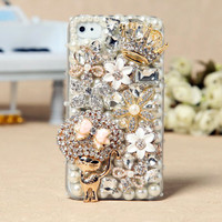 Apple iPhone 4S 4G 3GS iPod Touch Cat Flowers Crown Back Case