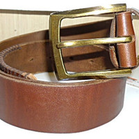 handmade  mans brown leather belt