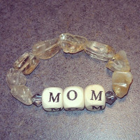Mom's  Wood ,Citrine and Swarovski Bracelet