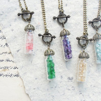 Mystical Healing Stone Necklace - Bottle with Peridot, Rose Quartz, Amazonite, Citrine, Amethyst