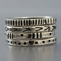 Graphic Patterened Sterling Silver Stacking by LichenAndLychee