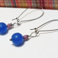 Surgical Steel Faceted Blue Dyed Jade Earring Dangles