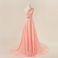 Cheap 2013 New Long One shoulder floor length chiffon beading appliques prom dresses