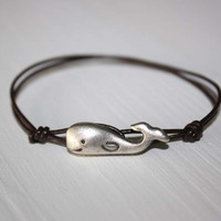 Whale Leather Bracelet  Antique Silver  by BelieveInGoodKarma
