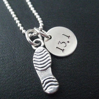 RUN 13.1 Running Shoe - 18 inch Sterling Silver Running Necklace on Sterling Silver Ball chain - Choose Shoe Print or Running Shoe
