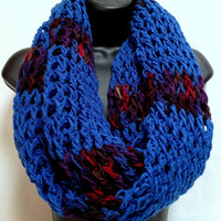 The Gentleman's Crochet Infinity Scarf: Blue with tones of purple and red