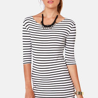 Shipshape Black and White Striped Dress