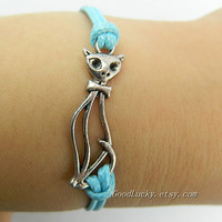 Silver cat braided bracelet-- Unisex  simple fashion Antique Silver cat pendant blue wax rope  leather braided bracelet