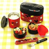 Mickey Mouse Thermal Lunch Bento + Fork + Bag - Japan - Hong Kong