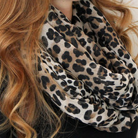 Leopard Scarf, Infinity Scarf, Loop Scarf, Circle Scarf, Black, Brown, Tan