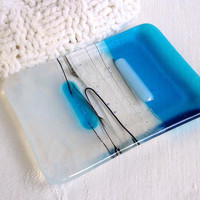 Glass Soap Dish in Turquoise and Streaky White