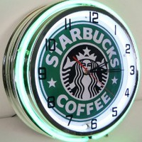 "STARBUCKS COFFEE 18"" NEON LIGHT WALL CLOCK ESPRESSO CAFE SHOP ADVERTISING SIGN - Amazon.com"