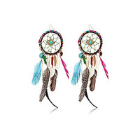Multicoloured feather dream catcher earrings