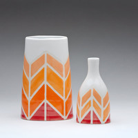 Herringbone in Orange Colour-ways Oval Vase