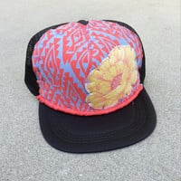 Hand Stitched Trucker Hat youth black yellow flower