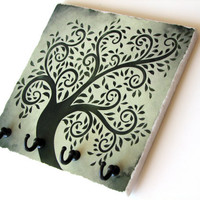 Green Tree Wall Décor Key Rack, Jewelry Hooks, Nature Home Décor, Tile Key Hook Hanger, Natural Colors Key Holder