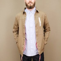 canvas talman jacket be SLVDR with drawstring hem, red gingham lining | shopcuffs.com