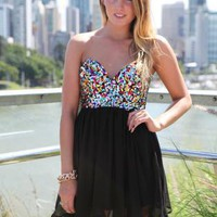 Black Strapless Dress with Multi Color Sequin Bodice