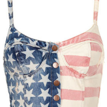 MOTO Flag Print Denim Bralet