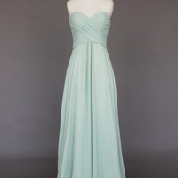 Long Chiffon Bridesmaid Dress, Prom Dress, Strapless Evening Dress