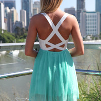 Mint Chiffon Dress with White Lace Bodice Top &amp; Cross Back