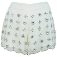 Cream Embellished Short - Shorts  - Apparel