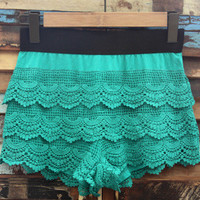 Mermaid Green Crochet Shorts! | Bellum&Rogue