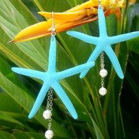 Real Tiffany Blue Mint Starfish Pearl Dangle Earring