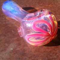 Pink color changing glass pipe with flower by NorthLightGlass
