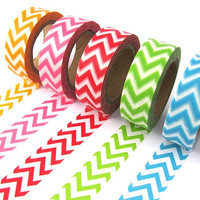 Washi Tape - Chevron Stripes - Choice of 5 Colours - 15mm x 10 metres - High Quality Masking Tape