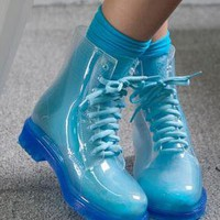 Blue ankle rain boots from 2NDAPRIL