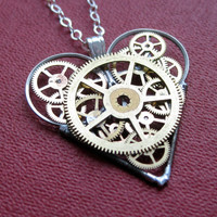 Mechanical Heart Necklace &quot;Curious&quot; Clockwork Gears Heart Steampunk Necklace Clockwork Love Sculpture by A Mechanical Mind Mother&#x27;s Day