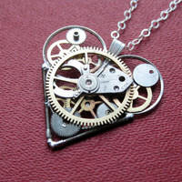 "Mechanical Heart Necklace ""Aspect"" Clockwork Gears Heart Steampunk Necklace Clockwork Love Sculpture by A Mechanical Mind Mother's Day"