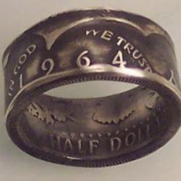 Silver coin ring Kennedy Ring size 10 1/2 very by silvercoinrings