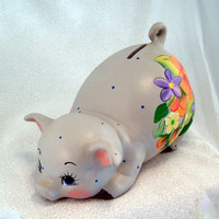 Ceramic Piggy Bank - Floral