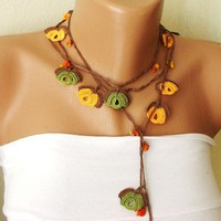 Free Shipping - Orange brown green and orange bead flower Necklace