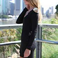 Black Long Sleeve Bodycon Dress with Shoulder Spike Detail