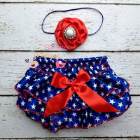 Patriotic Satin Bloomer Set- Headband and Bloomers- 4th of july outfit- Memorial Day outfit- Newborn Outfit - Baby Girl Outfit - photo prop