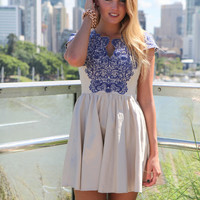 Cream Fit &amp; Flare Dress with Blue Embroidered Top Detail