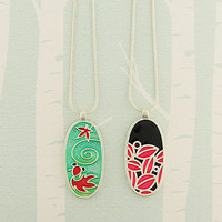 LAVISHY Gold fish Enamel Reversible Necklaces