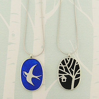 LAVISHY Sparrow Enamel Reversible Necklaces