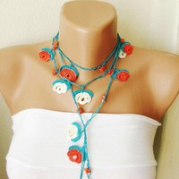 Free Shipping - White blue red flower Necklace Lariat Bracelet